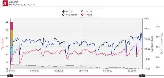 bieganie v800 wykres tętna