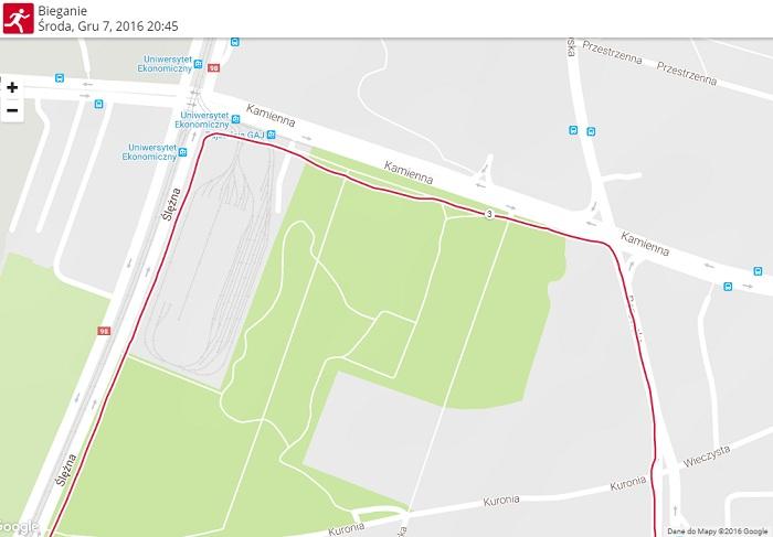 trasa biegu Polar M200 GPS