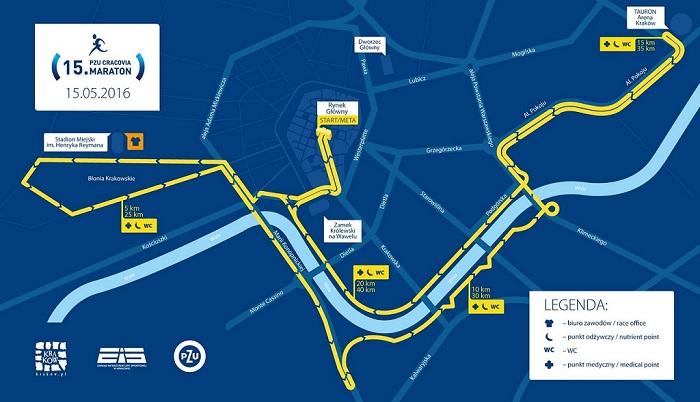 Cracovia Maraton trasa