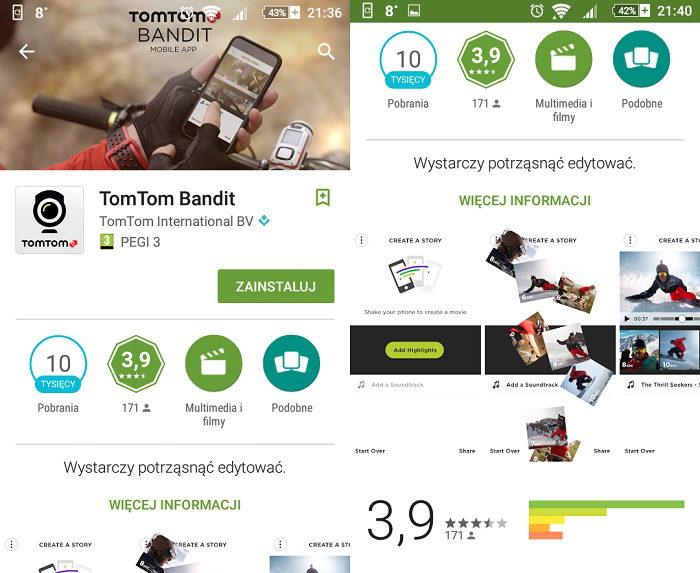 TomTom Bandit aplikacja mobilna