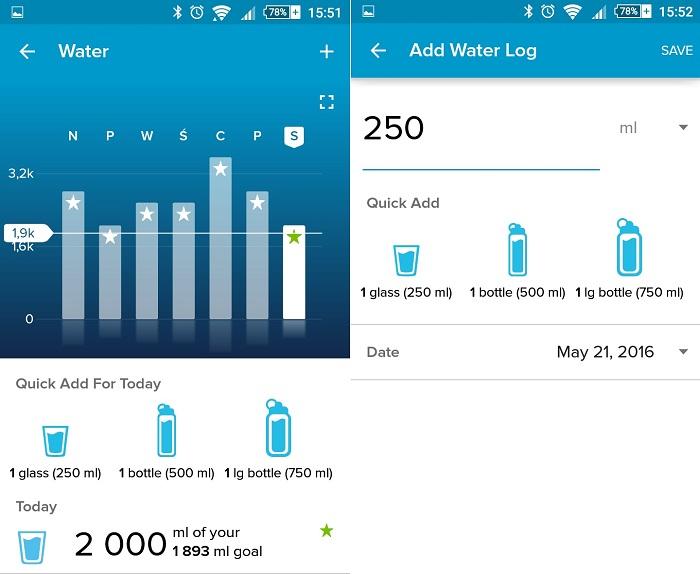Fitbit App nawodnienie