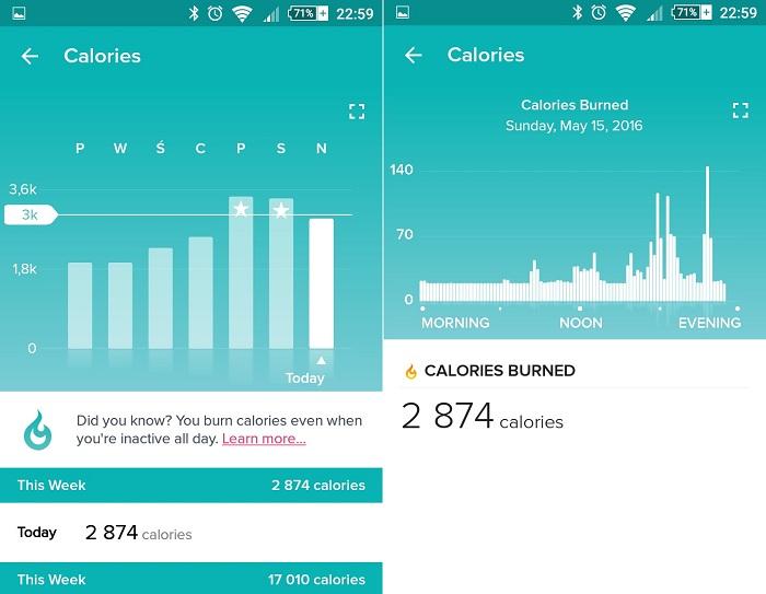Fitbit App kalorie