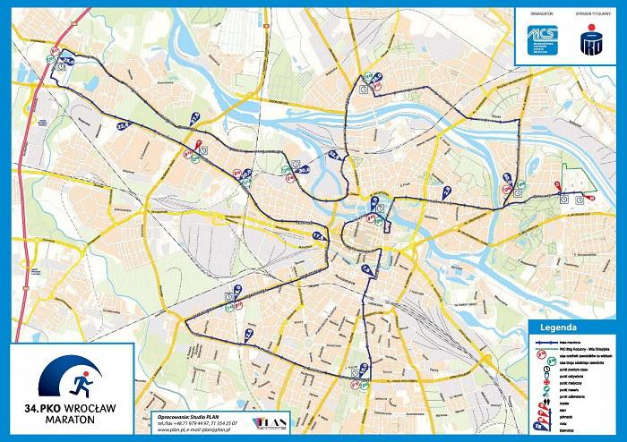 Wrocław Maraton - mapa trasy 2016