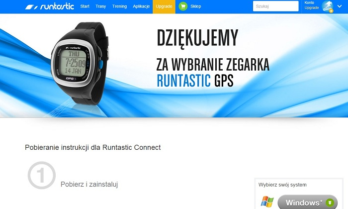 Konfiguracja zegarka Runtastic