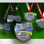 Medale półmaratonu i maratonu z wizerunkami znanych obiektów Wrocławia