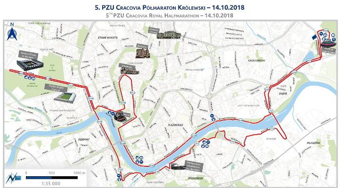 Cracovia Półmaraton Królewski 2018 trasa biegu