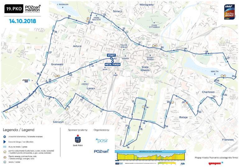 Poznań Maraton 2018 trasa jaką biegną zawodnicy
