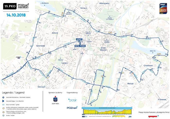 Poznań Maraton 2018 trasa