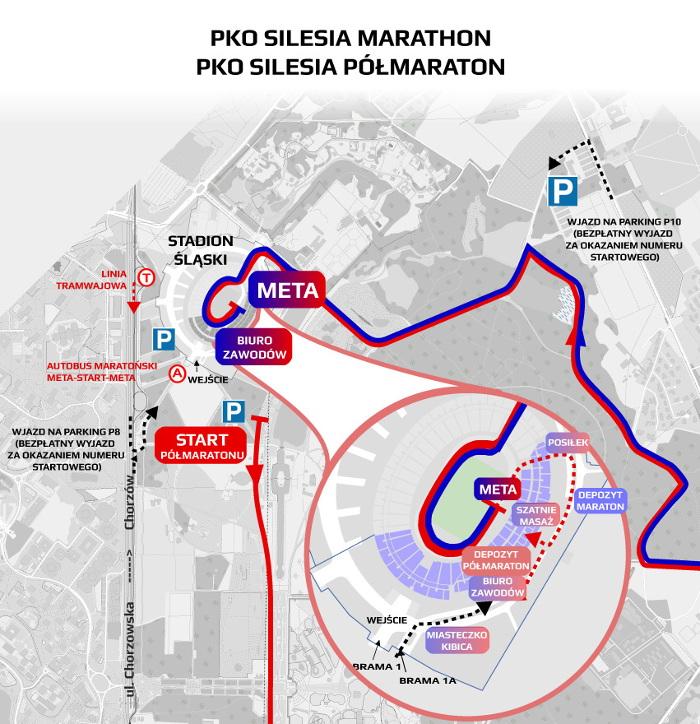 Silesia Marathon 2018 trasa biegu i utrudnienia w ruchu