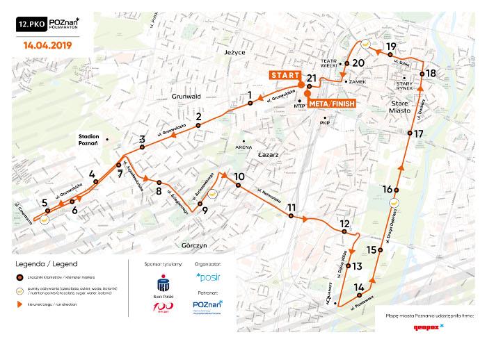 trasa PKO Poznań Półmaraton 2019