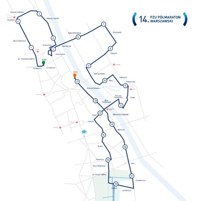Półmaraton Warszawski trasa biegu 2019