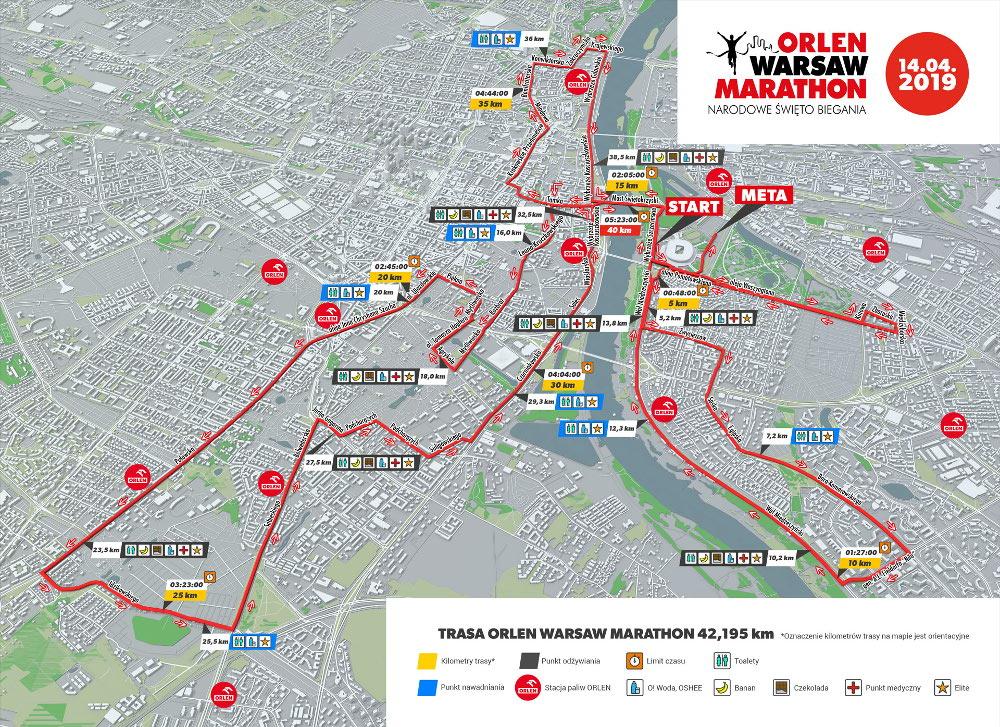 ORLEN Warsaw Marathon 2019 trasa ulic maratonu