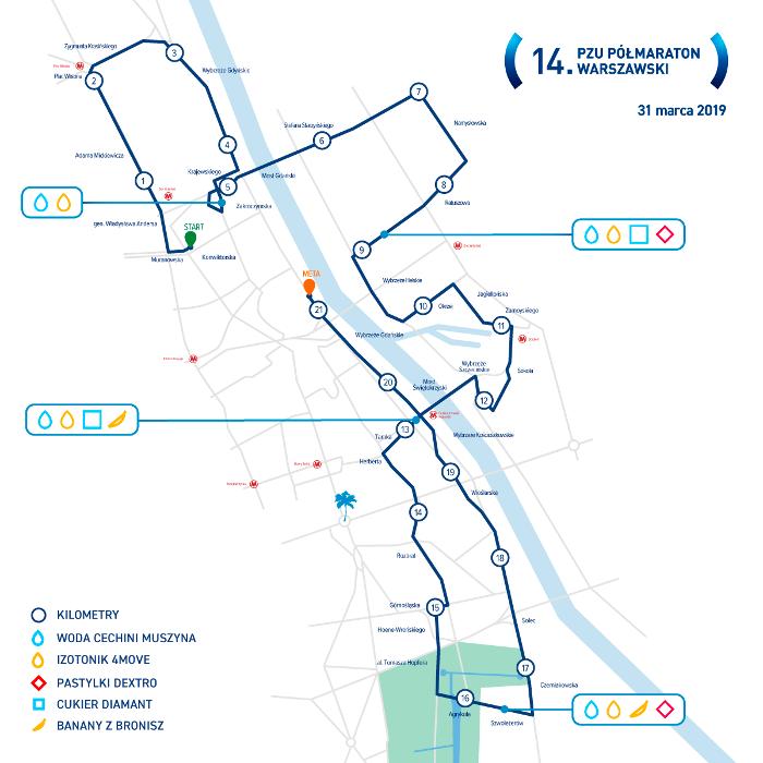 Trasa Półmaraton Warszawski 2019 utrudnienia w ruchu