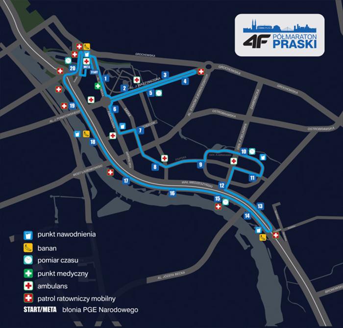 Trasa 6. Nocny 4F Półmaraton Praski