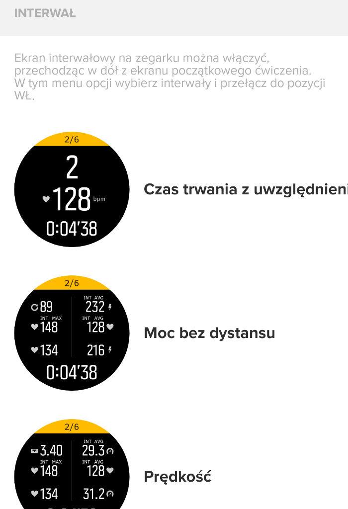 aplikacja Suunto ekrany danych