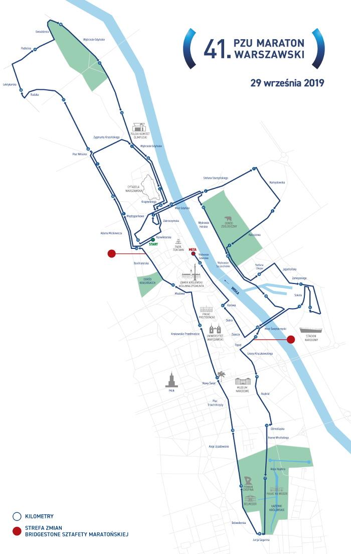 41. PZU Maraton Warszawski trasa