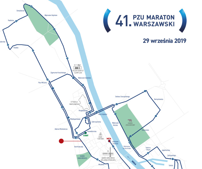 Maraton Warszawski 2019 trasa