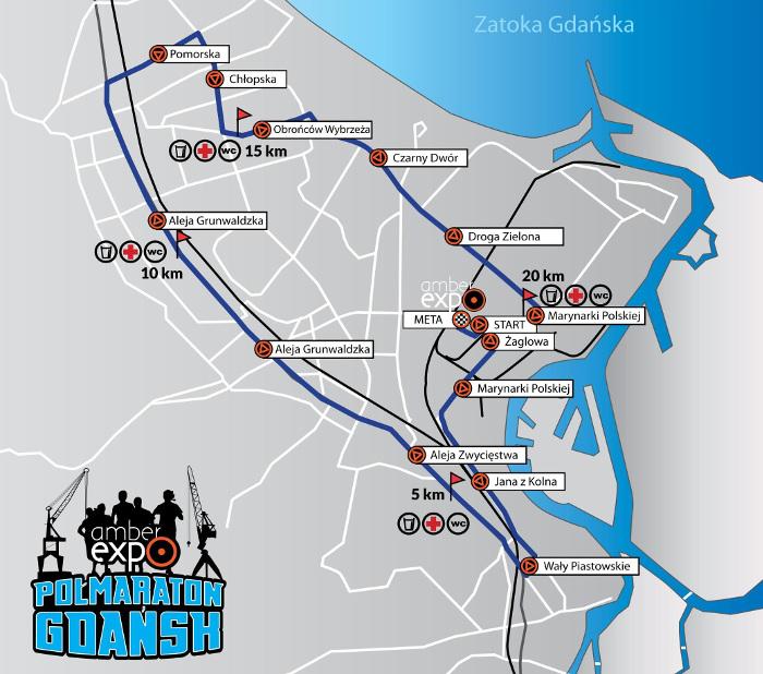 Trasa AmberExpo Półmaraton Gdańsk 2019