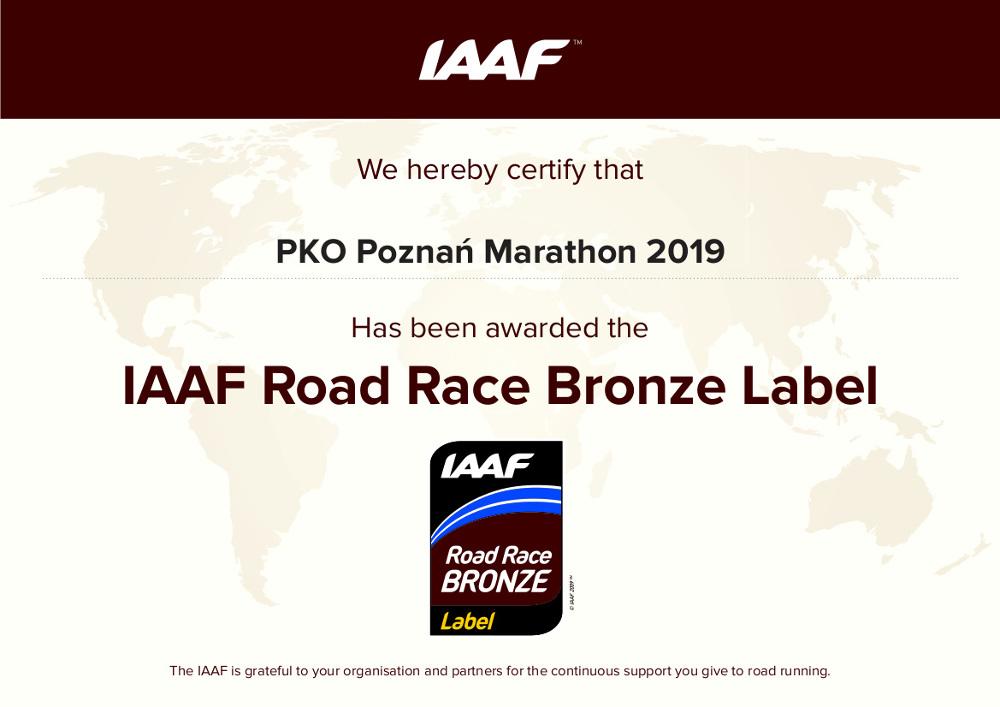 IAAF Road Race Bronze Label dla 19. PKO Poznań Maraton