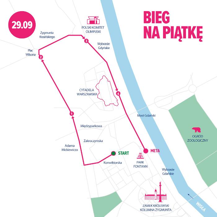 41. PZU Maraton Warszawski trasa Bieg na Pięć