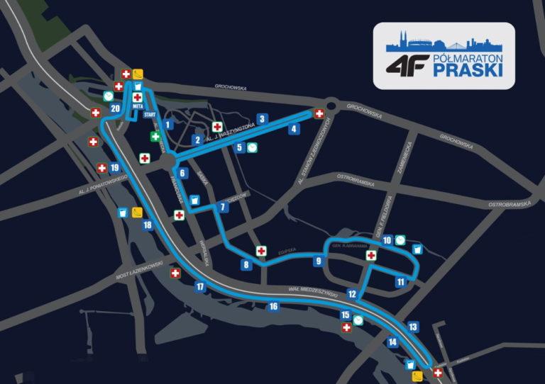 Półmaraton Praski - trasa 2019