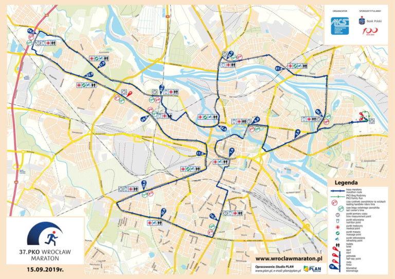 37. PKO Wrocław Maraton trasa