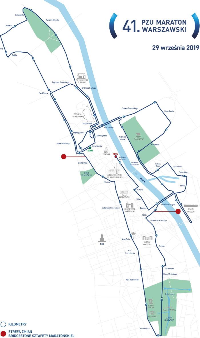 PZU Maraton Warszawski trasa 2019