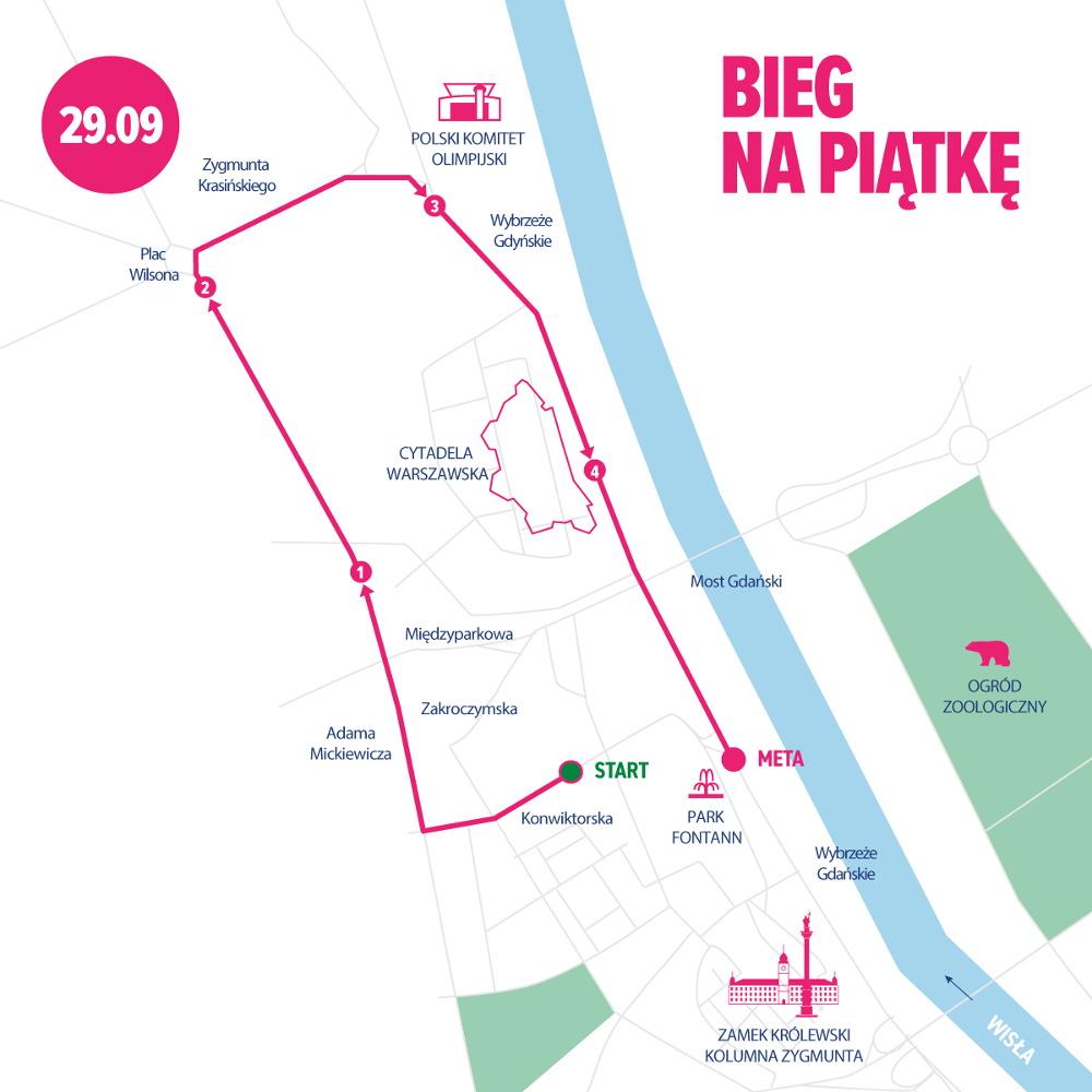 41. PZU Maraton Warszawski trasa Bieg na Piątkę