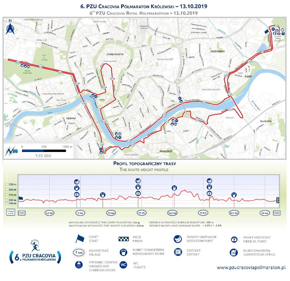 6. PZU Cracovia Półmaraton Królewski trasa