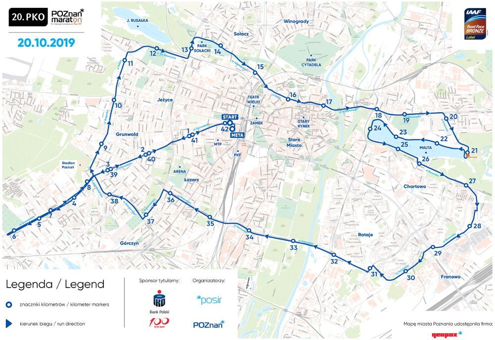 20. PKO Poznań Maraton 2019 trasa
