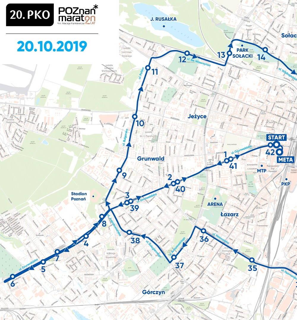 trasa 20. PKO Poznań Maraton 2019