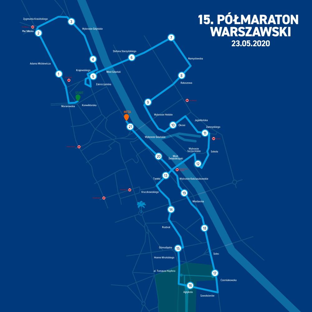 15. Półmaraton Warszawski trasa