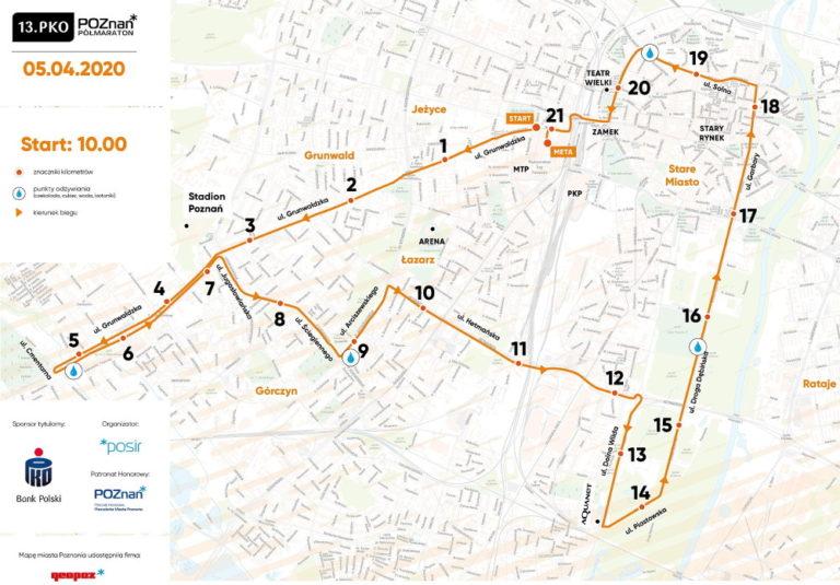 trasa 13. PKO Poznań Półmaraton